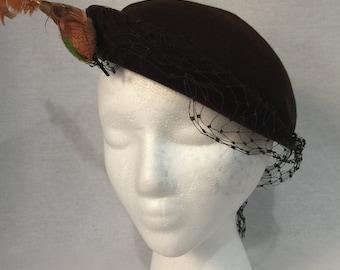 Vintage 1940s Espresso Brown Felt Bird Tilt Hat with Veil and Matching Hat Pin