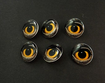"6 Owl Eye Buttons.   Handmade By Me.  Washer and Dryer Safe. Shank Buttons. 3/4"" or 20 mm."