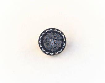 Vintage Italian Silver Mini Micro Mosaic Floral Brooch