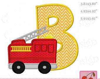 Fire Truck B Monogram Letter B Machine Embroidery Applique Design