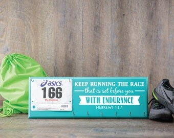 Running medal holder and race bib hanger - medal hanger and bib rack - race bib holder and medal display - inspirational quote - hebrews12:1