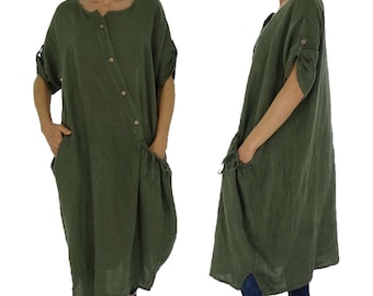 HZ100GN ladies dress linen tunic shirt long tunic vintage linen coat short sleeve oversize green Gr. 40 42 44 46