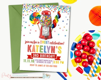 Candy Shop Birthday Invitation, Sweet Shop Birthday Invitation, Candy Invitation, Sweet Shop Invitation, Sweets Invitation, Gumballs