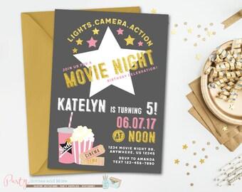 Movie Night Birthday Invitation, Movie Night Invitation, Movie Birthday Invitation, Movie Invitation, Cinema Birthday Invitation