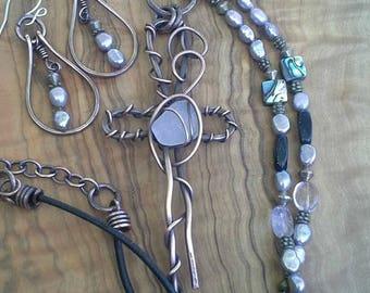 cross jewelry, cross with moonstone, handmade jewelry, christian jewelry, religious jewelry, cross necklace,  beach glass cross, jewelry