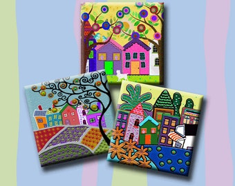 FUNKY HOUSES -  Digital Collage Sheet 1.5 inch square images for pendants, magnets, decoupage, scrap-booking etc. Instant Download #215.