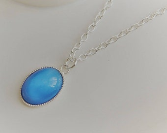 Blue Glass Moonstone Necklace, Blue Oval  Glass Moonstone Pendant, Silver Moonstone Necklace, Silver Necklace