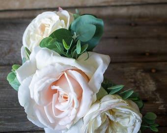 White Garden Rose Hair eucalyptus comb | etsy