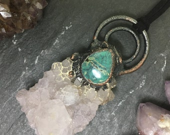 Raw Crystal Necklace - Spirit Quartz Necklace - Turquoise Necklace - Electroformed Necklace - Wiccan Necklace - Statement Crystal Necklace