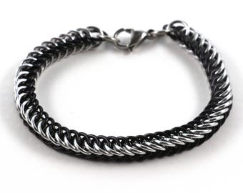 Persian Chainmaille Bracelet   Hand Crafted Chainmaille Jewelry   Handmade Bracelet   Black and Silver   Anodized Aluminum