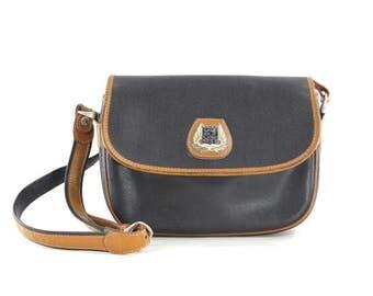 Lancel black leather bag •  leather saddle bag • Lancel Paris cross body bag •  two tone shoulder bag • textured leather purse