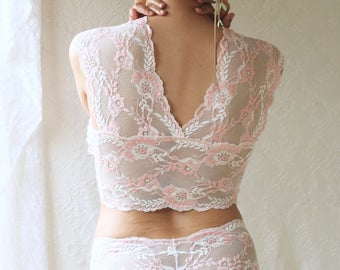 Soft Rosebud Pink Lace Bralette and Knicker Lingerie Set. Beautiful Limited Edition Handmade Lingerie from Brighton Lace