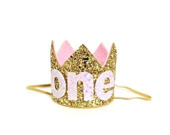 Gold Birthday Crown || Baby Girl Birthday Crown || First Birthday Crown || 1st Birthday Crown || Pink Birthday Crown