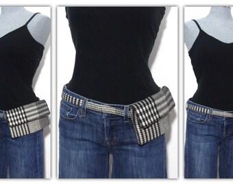 Belt bag, hip bag, fanny pack, mini messenger - black and white plaid