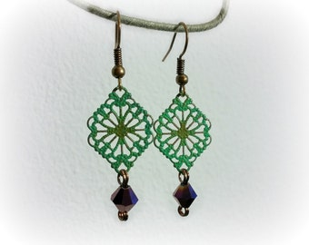 Filigree Earrings, Bronze Earrings, Green Patina Earrings, Purple Crystal Earrings, Bohemian Earrings, Gypsy Earrings, CLASSIC Collection