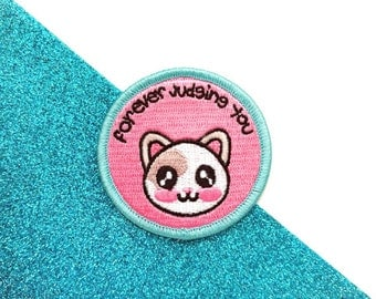 Forever judging you cat patch, cat patch, iron on patch, funny patch, cat lover gift, pins and patches, cute cat patch, fun cat patch