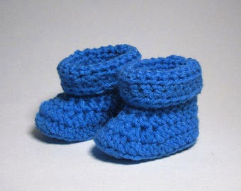 Baby Booties Crochet, baby boy booties, Size Newborn to 3 months, blue crochet booties, newborn baby booties, baby shower gift boy