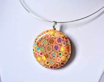 Colored pencils ring pendant necklace smaller