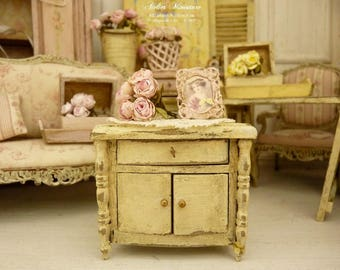 Miniature doll's wooden bedside, Shabby French vanilla yellow, Furniture for a French dollhouse in 1:12th scale