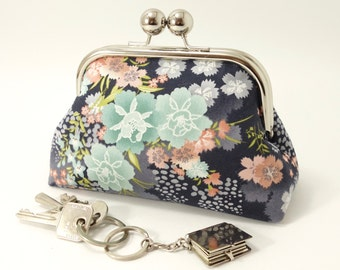 """Kisslock clutch, purse with clasp / Kimono inspired floral fabric, """"Asami Flower"""" by Makower / Cream mint and salmon pink on charcoal grey."""