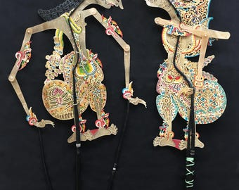 RESERVED for Gwen - 2 Antique WAYANG KULIT Puppets Traditional Shadow Theatre Java Dutch East Indies Indonesia ca. 1930s - Mint Condition !
