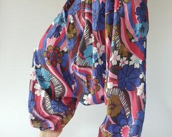 HC0274 Flora soft cotton baggy unisex harem pants, perfect of yoga,Low Crotch Yoga Trousers gypsy pants,aladdin pants maxi pants boho pants