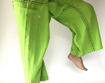 F80022 Hand Sewing Inseam design for Thai Fisherman Pants Wide Leg pants, Wrap pants, Unisex pants
