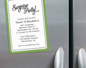 Surprise Party - Birthday Save the Date Magnets + Envelopes
