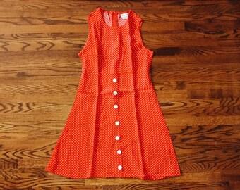 Vintage Red Polka Dot Sleeveless Mini Mod Dress