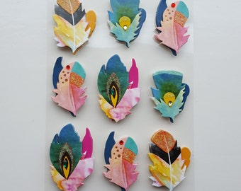Sticker Sheet - 3D Stickers - Feathers - Bohemian - Glitter - Colorful