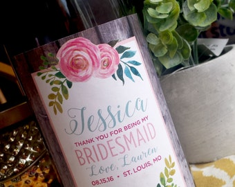 Will you be my Bridesmaid Wine Label, Wedding Wine Label - Custom Wine Label - Rustic Wedding Wine Bottle Label
