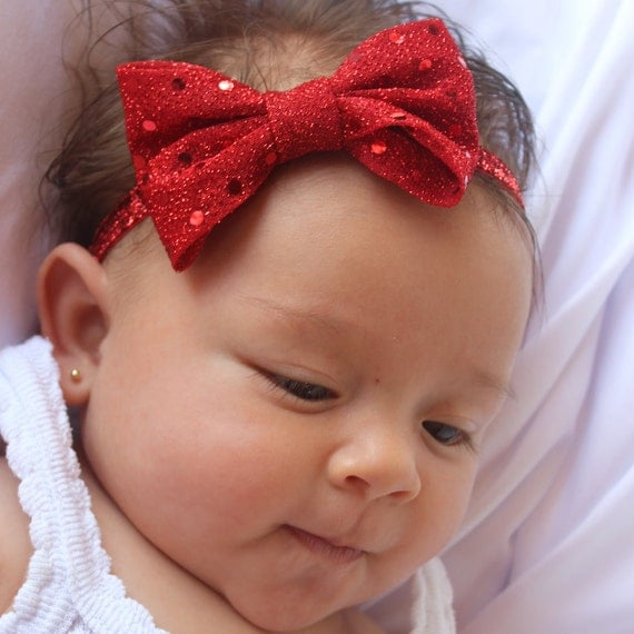 Christmas Baby Headband, Red Headband, Baby Bow Headband, Baby Headband, Bow Headband Baby,  Baby Girl Headband, Newborn Headband