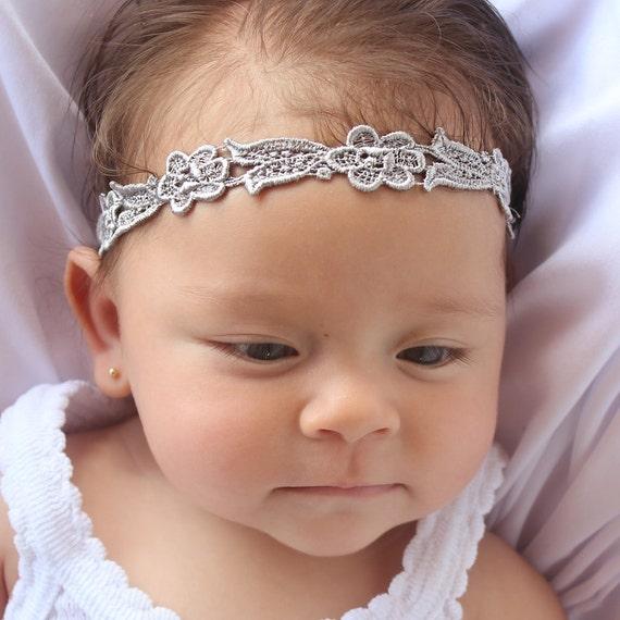 Newborn Headband, Silver Headband, Gray Headband, Infant Headbands, Baby Headband, Infant Headband, Baptism Headband