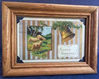 """Framed Vintage Easter Postcard - """"Easter Greetings"""""""