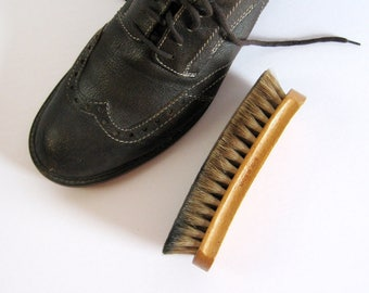 Vintage Wood Shoe Shine Brush - Natural Horse Hair Brush - Wood Horsehair Brush - Shoe Polish Brush - Mens Shoe Care - Made in Israel