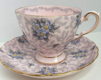 Vintage Tuscan Fine Bone China Tea Cup and Saucer Made in England Pink Blue Floral