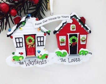 From Our House to Yours Personalized Christmas Ornament / New Home Ornament / Home for the Holidays / Neighbor Ornamanet