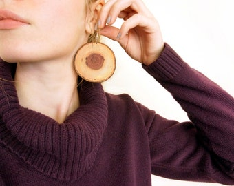 Natural Wood Slice Earrings, Large Wooden Earrings, Huge Wood Slice Hoops, Pecan Wood Earrings, Natural Wooden Earrings, Natural Jewelry