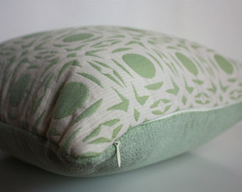 16x16 Green pillow cover, Beige and green pillow cover, 16x16 pillow cover, robert allen fabric, READY TO SHIP!