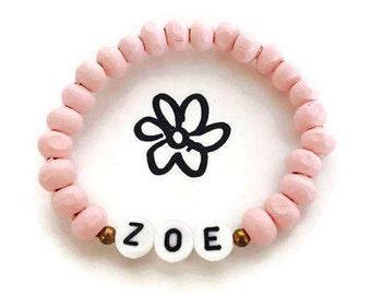Girls Bracelets, Girls presents, Name bracelets, Wood bead bracelet, Girls birthday present