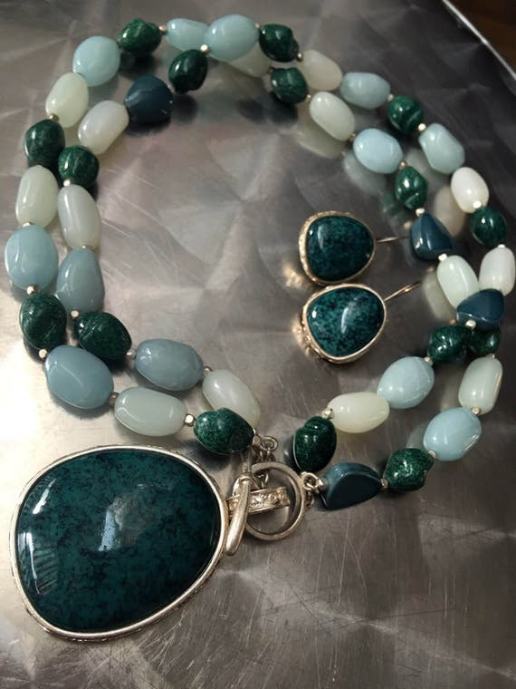 Stunning Monet Asian Deco Inspired Statement necklace & earrings beautiful blue greens tones with silver plated fixings