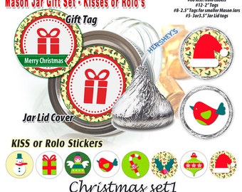 Hershey Kiss stickers, Chocolate Kiss Mason Jar Gift labels,Christmas set 1, printable, Rolo stickers, instant download