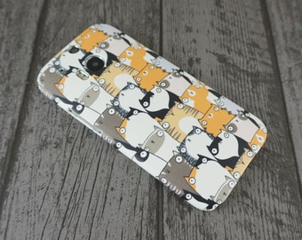 SALE *** Staring Cats Cute Fat Cat Animal Patterned HTC One M8 Case