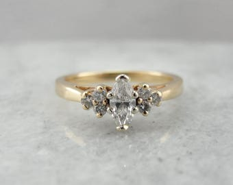 Vintage Marquise Diamond Engagement Ring in Yellow Gold P68AZY-P