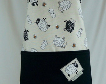 Apron handmade, gift for her, sheep in the wild