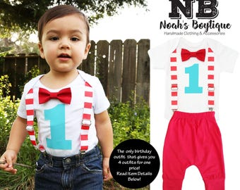 Circus Birthday Shirt Red and Aqua - First Birthday Outfit - Pants Bow Tie Suspenders Number One - 1st Birthday Carnival Theme - Stripes