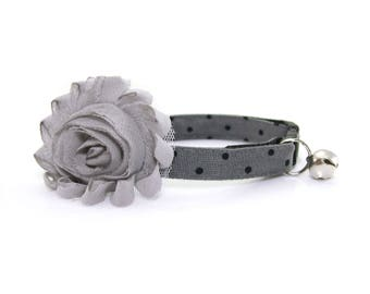 "Flower Cat Collar Set - ""Hemingway"" - Slate Gray w/ Black Polka Dot Collar + Gray Detachable Flower"