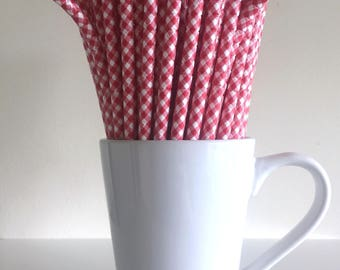 Gingham Bendable Paper Straws Red Gingham Picnic Party Supplies Party Decor Bar Cart Cake Pop Sticks Mason Jar Straws  Party Graduation