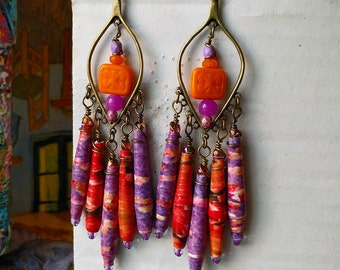 Neon Molecules Paper Bead Chandelier Earrings