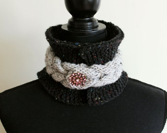 Hand Knit Head Band with Brooch, Ear Warmer, Neck Warmer, Headband with Thick Cable, Soft and Warm